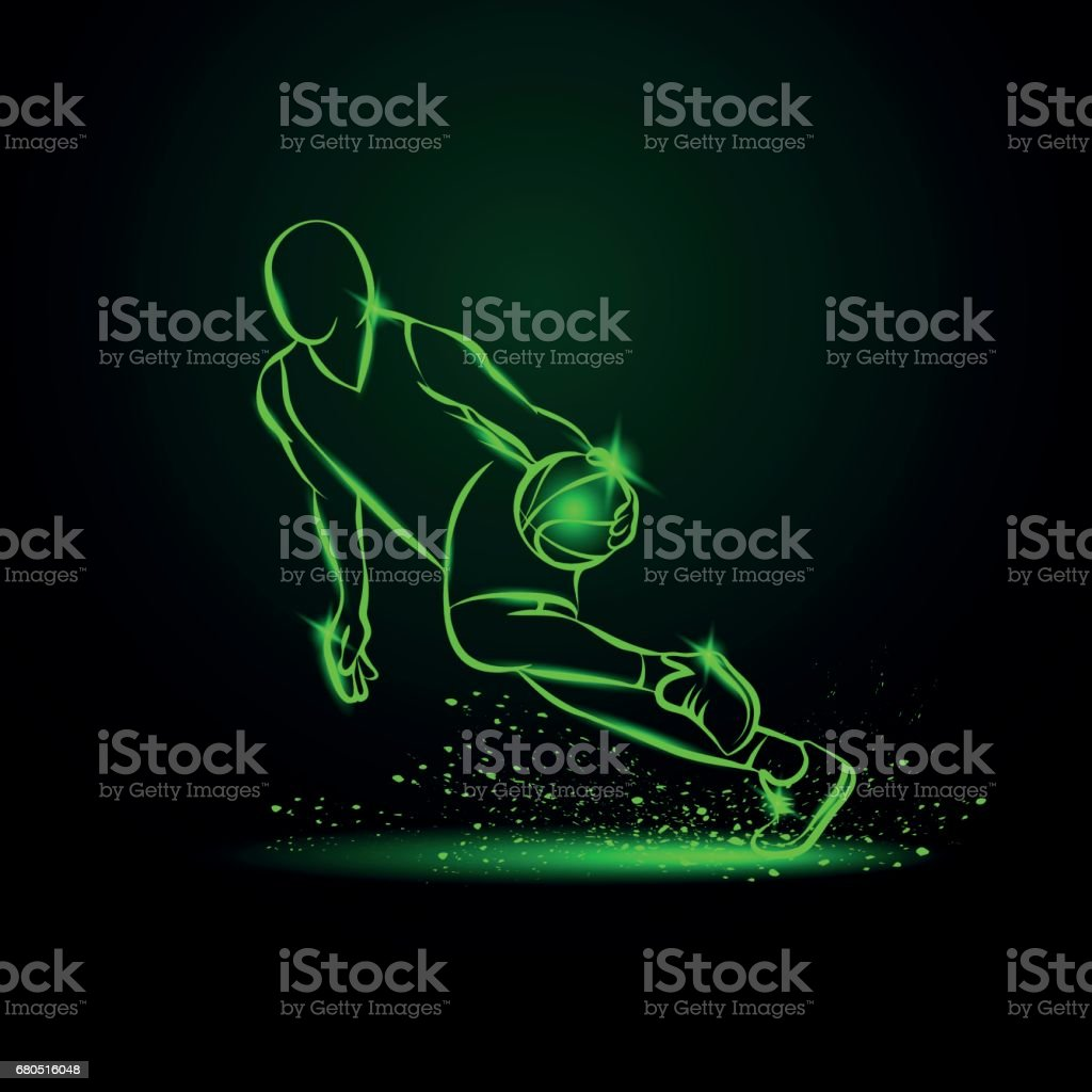 Basketball player dribbling with a ball at high speed. vector art illustration
