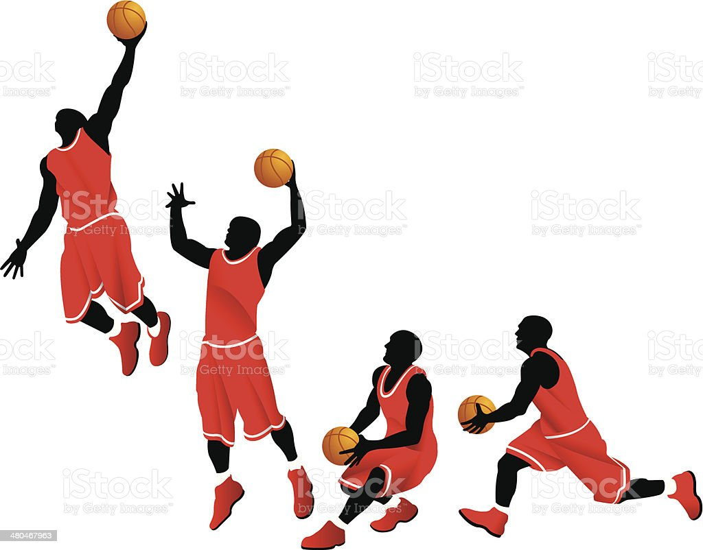 Basketball Player Dunk vector art illustration