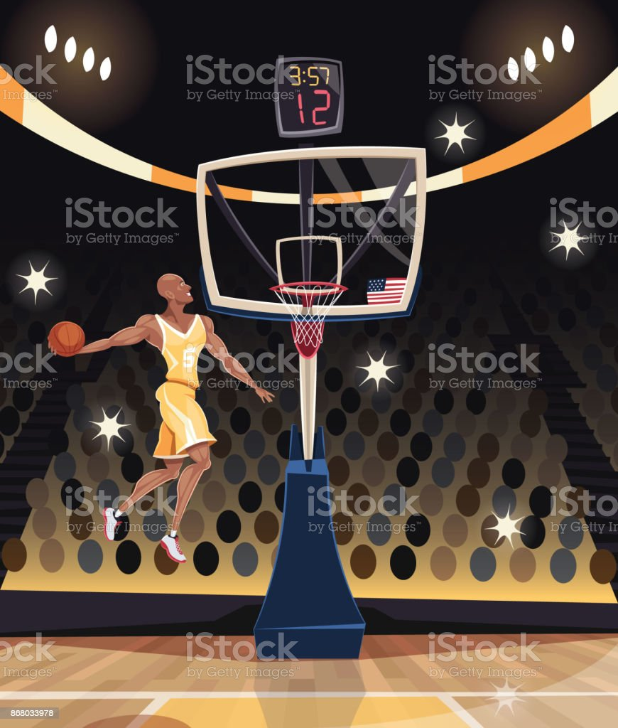 Basketball player dunking in basketball arena vector art illustration