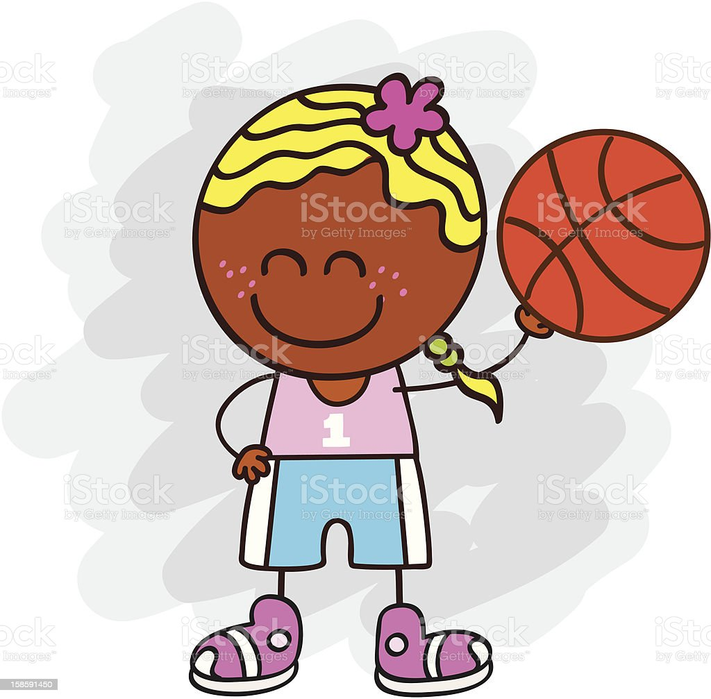 basketball player girl cartoon illustration royalty-free stock vector art