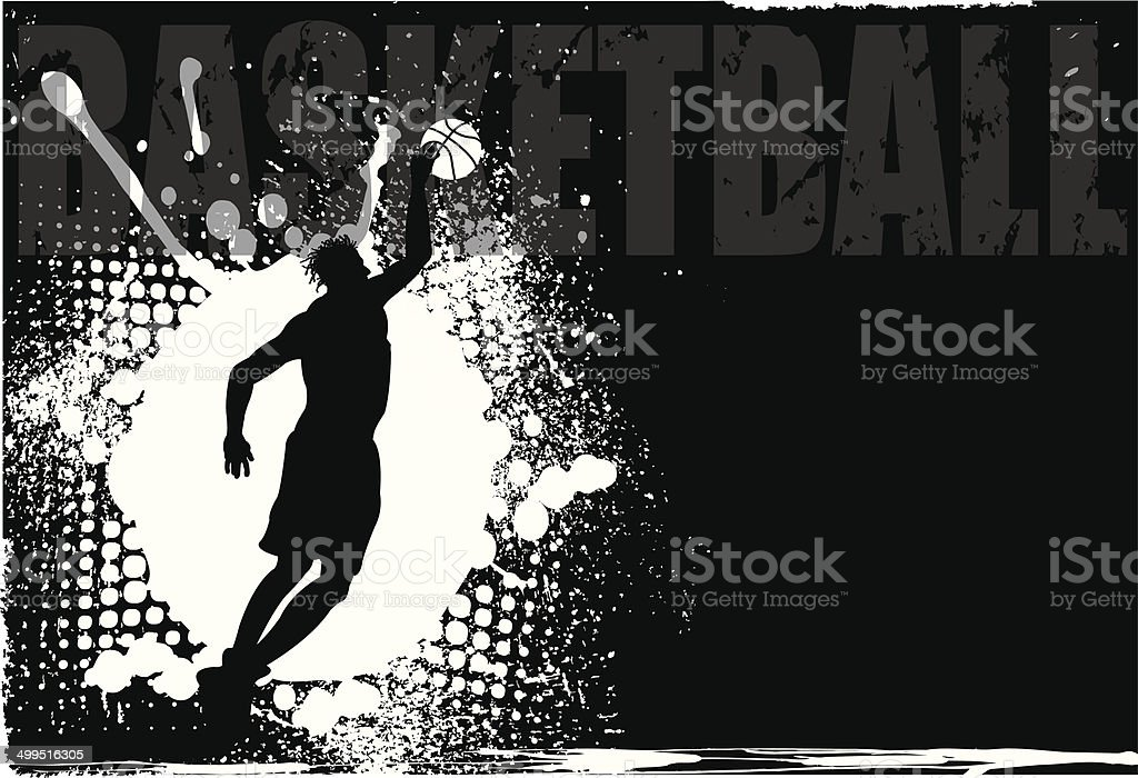 Basketball Player Grunge Background vector art illustration