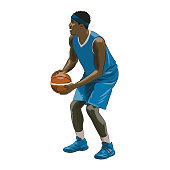 Basketball player holding ball and preparing for free thows, colorful isolated vector illustration