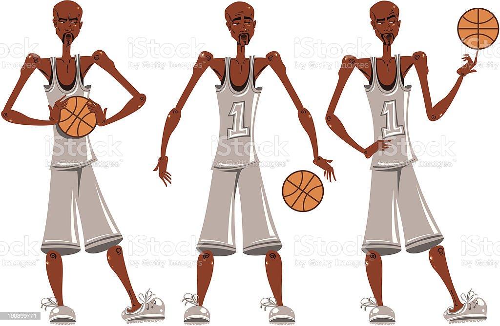 Basketball player illustrations set. vector art illustration