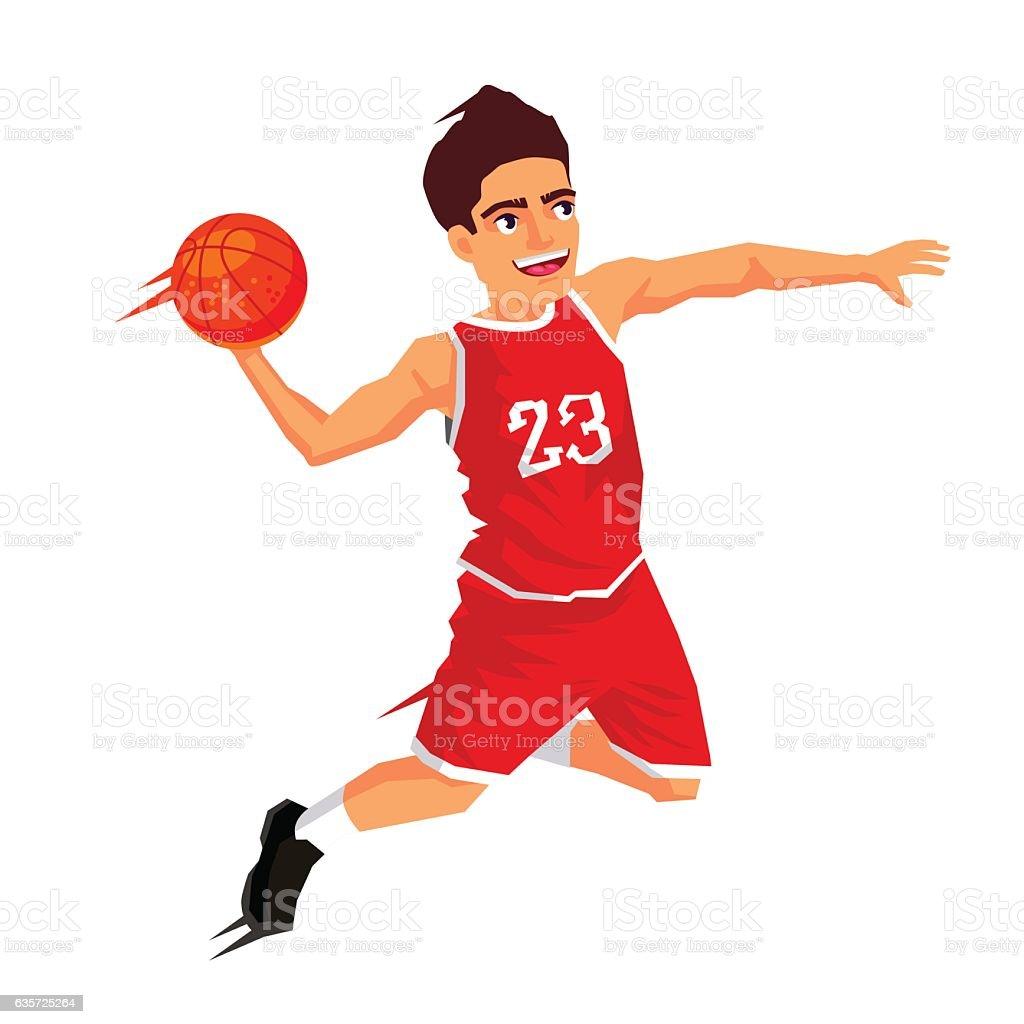 Basketball player in red uniform vector art illustration