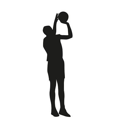 Basketball player jump shop. Vector silhouette