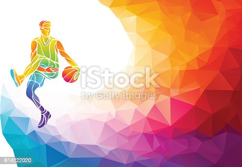 istock Basketball player jump shot polygonal silhouette on colorful low poly 614222020