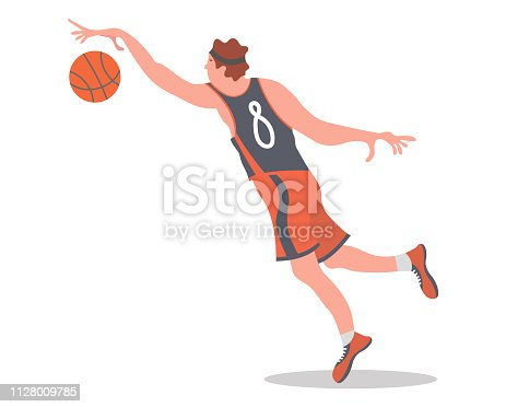 Basketball player jumping with a ball. Vector illustration