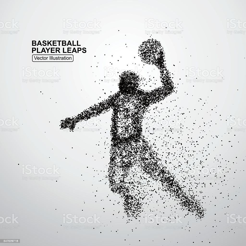 Basketball player leaps vector art illustration