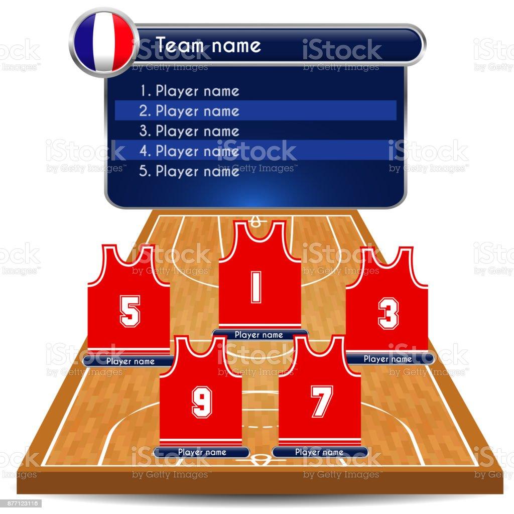 E Quadra ilustração de escalação de jogador de basquete e quadra e mais banco