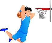 basketball player make slum dunk