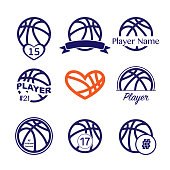 Set of different dark blue basketball symbols with player name and number for t-shirt