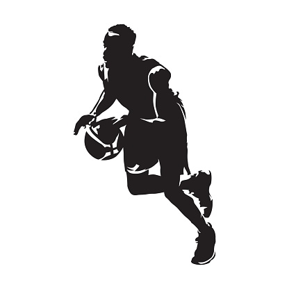 Basketball player running with ball, abstract vector isolated silhouette