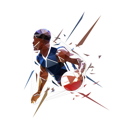 Basketball player running with ball, dribbling. Isolated low polygonal vector illustration, geometric drawing from triangles, side view. Basketball point guard logo