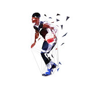 Basketball player running with ball, dribbling. Isolated vector low polygonal illustration, side view. Basketball point guard, geometric style