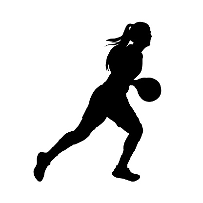 Basketball player, running woman with ball, vector silhouette