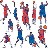 Illustration set of basketball players. All colors are separated in layers. Easy to edit. Black and white version (EPS10,JPEG) included.