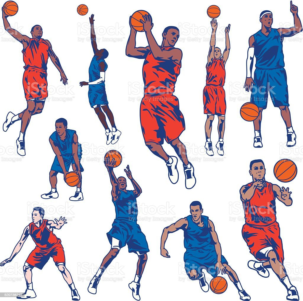 Basketball Player Set vector art illustration