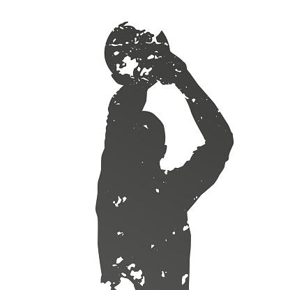 Basketball player shooting ball, abstract grunge vector silhouette