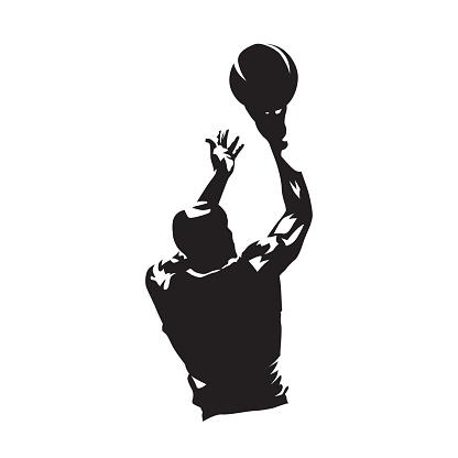 Basketball player shooting ball, isolated vector silhouette