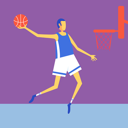 Basketball player shoots for basket.