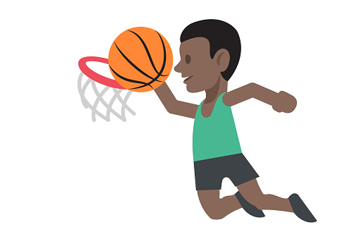 basketball player shoots for basket,concept of success and achievement
