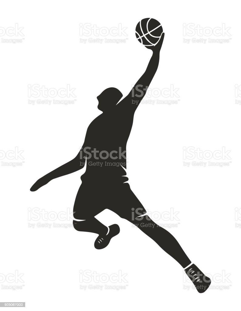 Basketball player silhouette vector art illustration