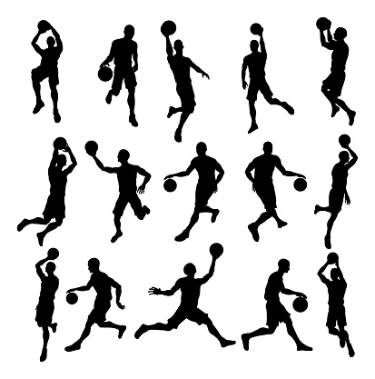 basketball silhouettes stock illustrations