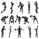 Basketball player silhouette set, vector illustration. Professional athletes dribbling, bouncing, passing, shooting the ball jumping in the air. Basketball crossover dribbling, free throw, slam dunk.