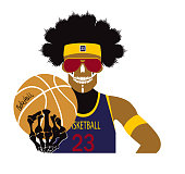 Basketball player skull with the ball vector illustration