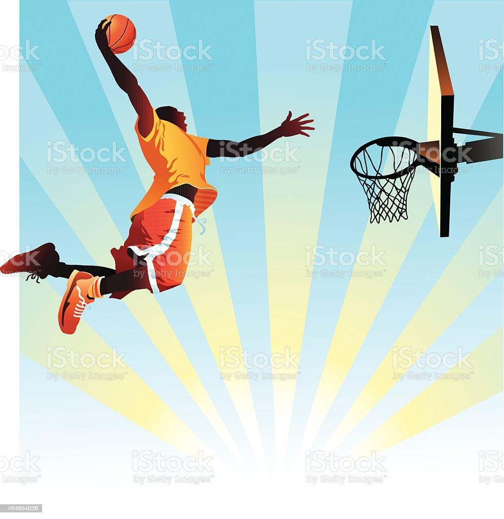 Basketball Player Slam Dunks On Blue Background Stock