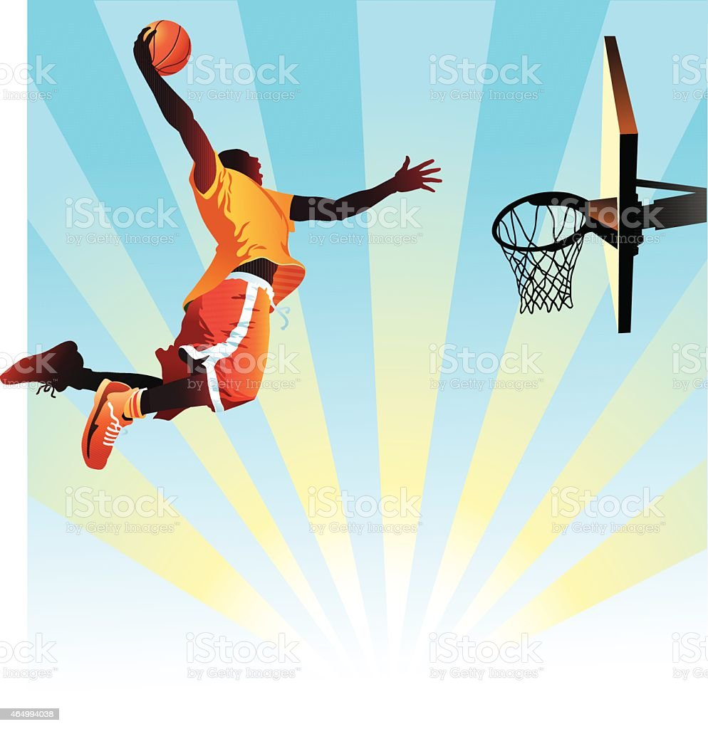 Basketball Player Slam Dunks on Blue Background vector art illustration