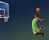 Basketball Player Slamdunking