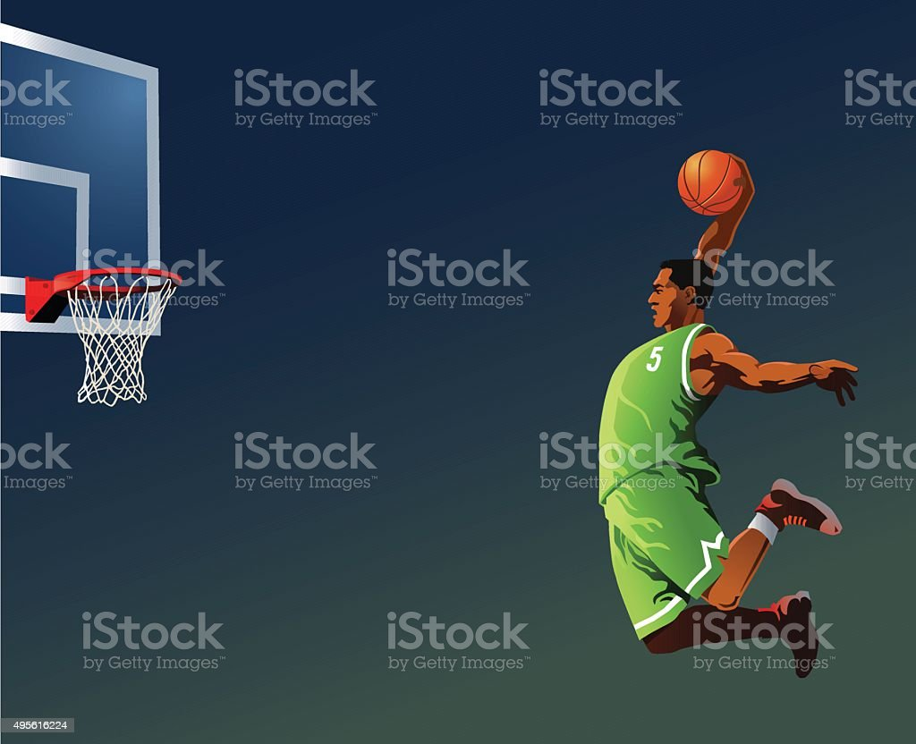 Basketball Player Slamdunking vector art illustration