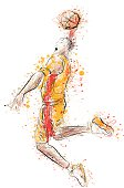 Illustration of basketball player in splattered style.