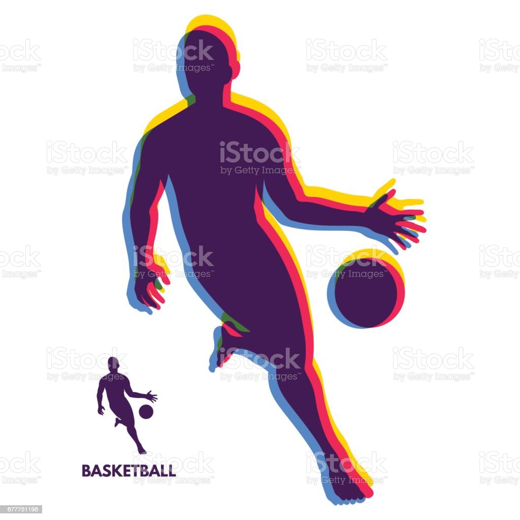 Basketball player standing and dribbling the ball. Sport Symbol....