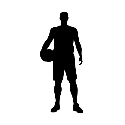 Basketball player standing and holding ball, vector silhouette