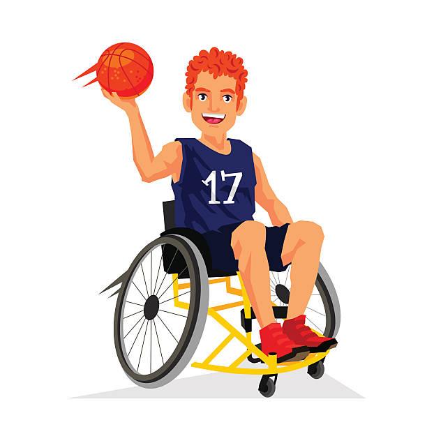 bildbanksillustrationer, clip art samt tecknat material och ikoner med basketball player with a disability in a wheelchair - balpress
