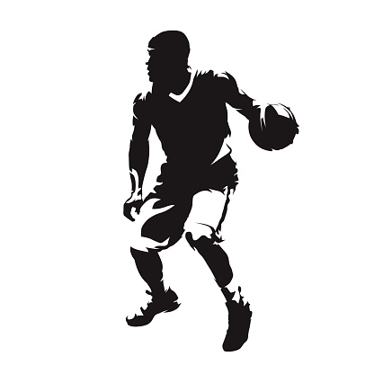 Basketball player with ball, isolated vector silhouette