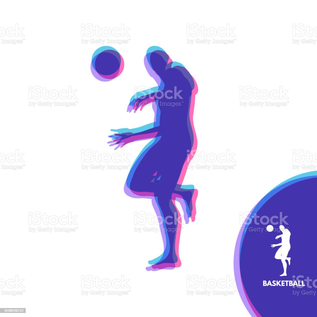Basketball player with ball. Sport Symbol. Design Element. Vector...