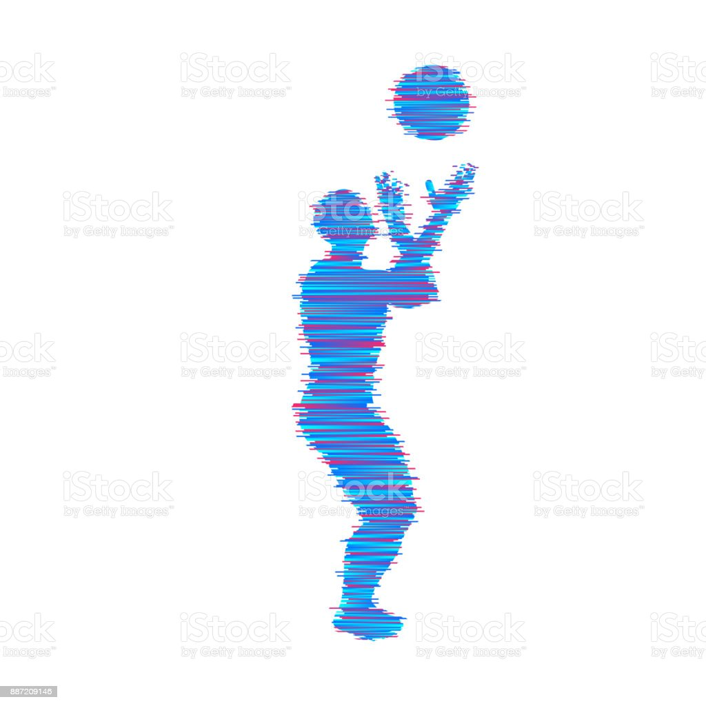 Basketball player with ball. Sport symbol. Vector illustration.