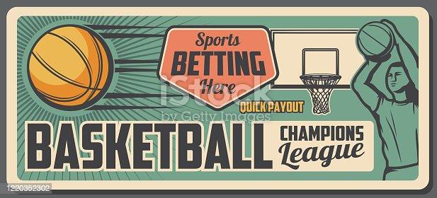 istock Basketball player with sport ball, basket and hoop 1220352302