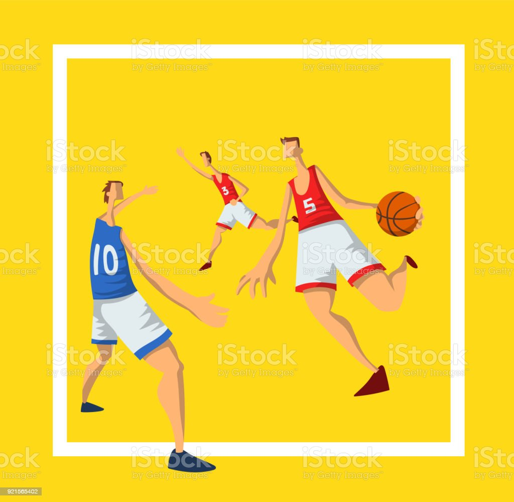 Basketballspieler In Abstrakten Flachen Stil Männer Mit Einem ...