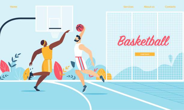 stockillustraties, clipart, cartoons en iconen met basketbal spelers in actie. toernooi spel - samen sporten
