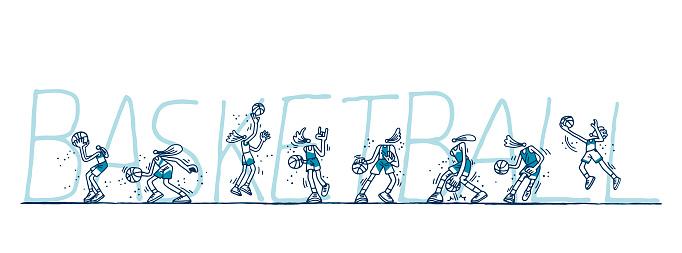 Basketball players set