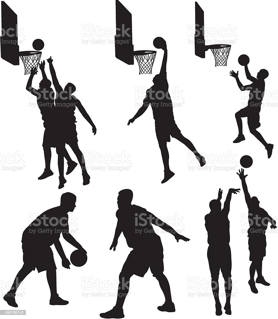 basketball players - silhouettes vector art illustration