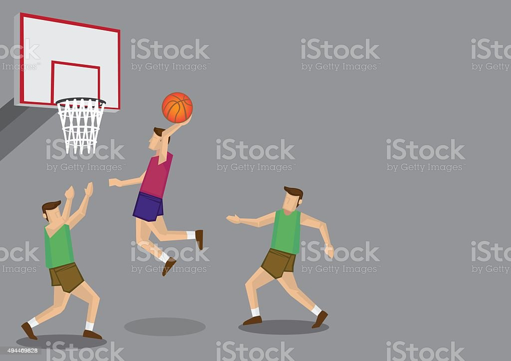 Basketball Players Slam Dunk Shot Vector Illustration vector art illustration