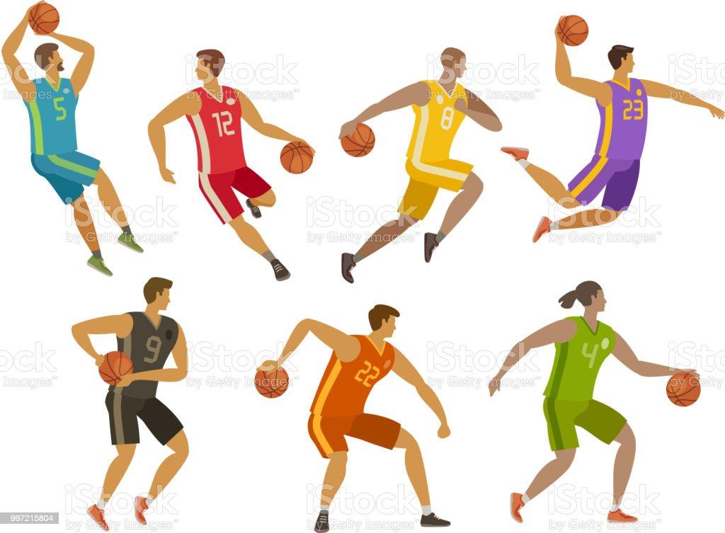 Basketball players. Sport concept. Cartoon vector illustration vector art illustration