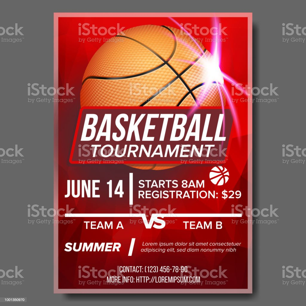 Basketball Poster Vector. Tournament Banner Advertising. Sports Bar Event Announcement. Game, League, Camp Design Blank. Basketball Ball. Championship Illustration vector art illustration