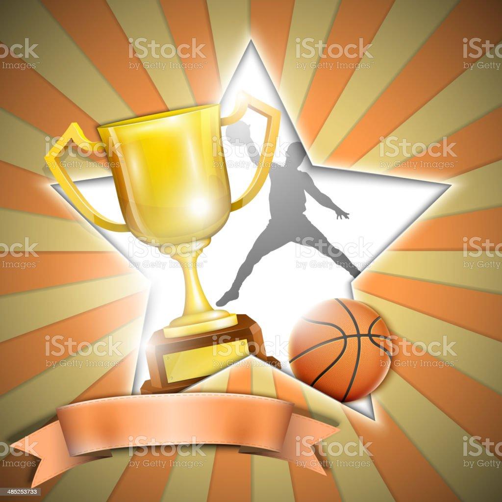 Basketball-Poster mit Trophy Cup. Lizenzfreies basketballposter mit trophy cup stock vektor art und mehr bilder von abstrakt