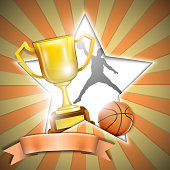 Basketball Poster With Trophy Cup.